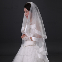 BV1565 2015 new style white elegant design border embroidery long lace wedding veils and accessories