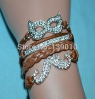 2014 New Crystal Mask Tube Beard Charm Bracelet Fashion Men Custom Brown Leather Rope Cuff Jewelry W-581