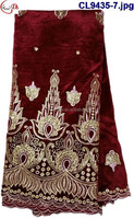 African heavy velvet lace fabric material with embroidery sequins CL9435-7