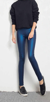 2015 The New Korean Pearl Leather Pants Outer Wear Stretch High Waist Sexy Tight Feet Pencil Pants 9602