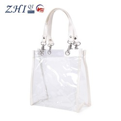 Hot sale BSCI directly factory clear PVC fancy ladies shopping bags new design clear shopping handbag