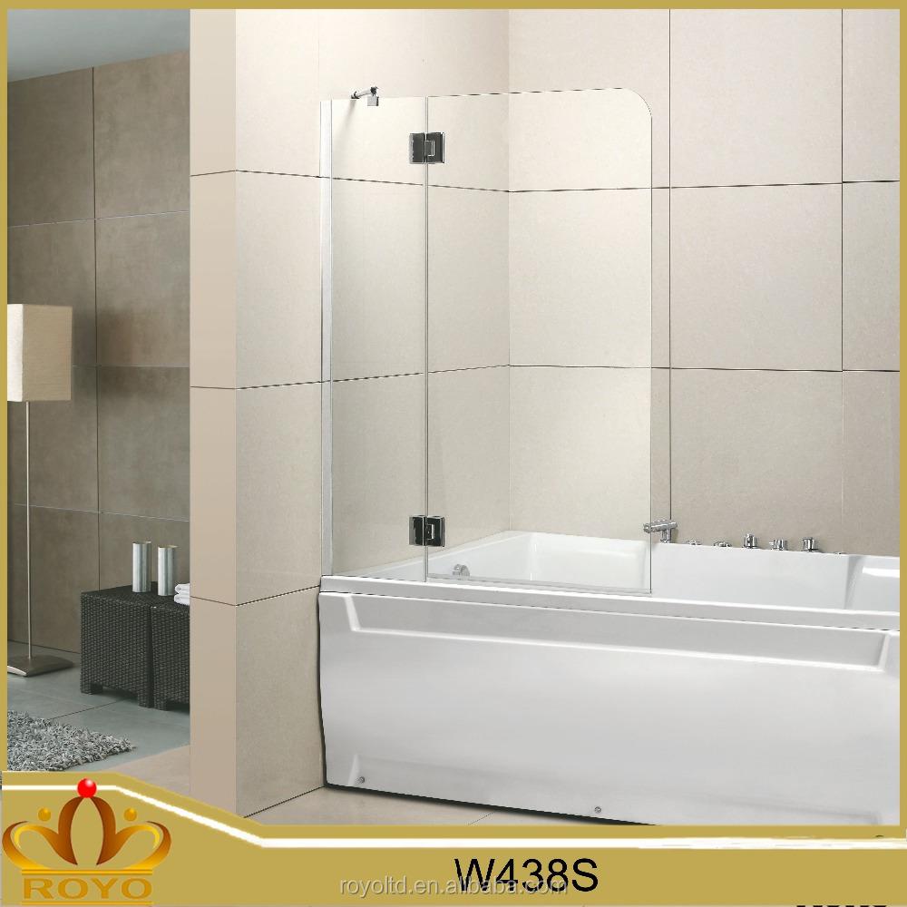 Portátil 2 panel de vidrio bisagra baño mampara de ducha W438S