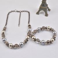 T14060-01Bridal Wedding Bride Shining Beads Necklace Bracelet Jewelry Set Party