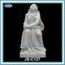 White Stone Home Decoration Sitting Lady Statue