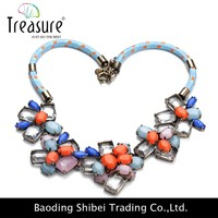 2015 New Fashion Regal Alloy Blue Cotton Rope Glass Stone Wholesale Girls Latest Design Beads Necklace