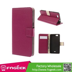 The Best Lychee Skin Leather Wallet Case for Wiko Highway Signs / Stand
