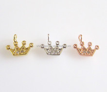 factory costom jewelry findings silver/brass cz crown charm connector diy jewelry