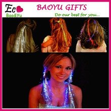 Hot sale Colorful glowing LED Braid,Novelty Decoration for Party Holiday,Hair Extension by optical fiber