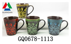 11oz high fire ceramic mug with splazing glaze and hand made wholesale