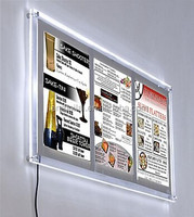 Promotional sign holder !!! 11 x 17 Acrylic Sign Holder for Wall, LED Illuminated, Holds 3 Signs - Silver Border