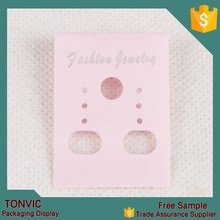 100pcs/set pink plastic printed logo earring packaging card fashion jewelry custom made