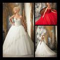 Noble vestido de bola del amor moldeado lateral Croset encaje apliques de color rojo o blanco de organza vestido de novia 2013 T