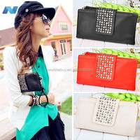 New Korean Style synthetic Leather Handbag Rivet Lady Clutch Purse Wallet Evening Bag
