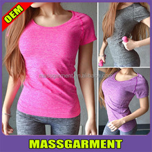 Dry Quick gym t shirt compression tights women's sport t-shirts running short sleeve t-shirts fitness women clothes tees & tops