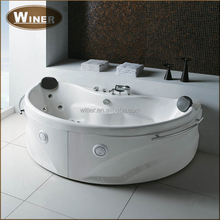 Antique style indoor small bathroom mobile free standing sitting bathtub with led light