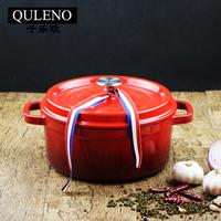 QULENO cast iron cast iron enamel sauce pot with metal lid cast iron pot