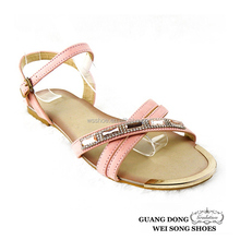 wholesale best price top quality open toe ankle strap slingback flats lady sandal 2014
