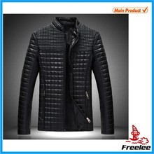 2015 New Style Men's Popular PU Quilted Leather Jacket