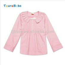 Luz rosa de manga larga de cuello O tejido de algodón niñas blusa