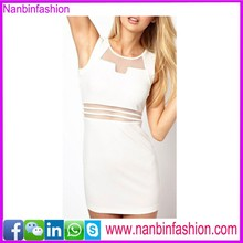 wholesale new selling white see-throught straight dress for office