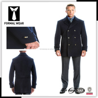 New arriving Fashion design 100% navy cashmere double breasted six button 2 pockets long overcoat for men