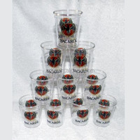 BACARDI RUM 2oz PLASTIC SHOT GLASSES BAT LOGO PARTY SHOOTERS