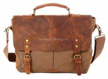 Fashion designer vintage style 100% cotton canvas messenger bags with retro crazy horse leather factory