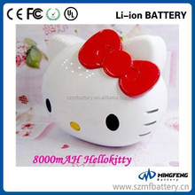 Shenzhen factory Cartoon cute Hello kitty Power bank 8000mah Usb charger Power bank for Iphone Ipad Smart phone CE Rohs