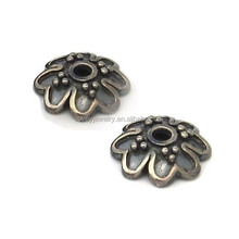 handmade sterling silver 925 antique bronze bead caps for diy jewelry making