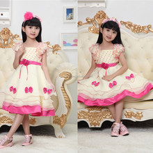 2015 Flower Girl Silk Satin Frocks Designs For Small Girls One Piece Baby Girls Party Dress