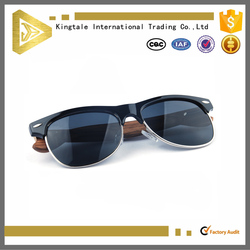 Wholesale Natural Aviator Brown Sunglasses Bamboo with half frame