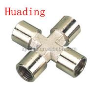 brass four female G thread cross air connector , size G1/8''