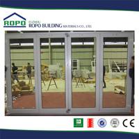 UPVC white frame four panels folding shop door glass