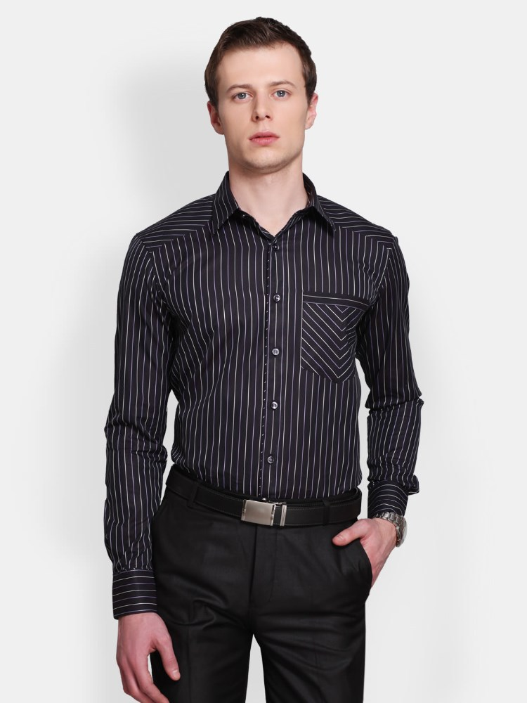 Black White Striped Smart Casual Shirt 100 Polyester