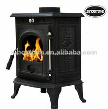 Hierro fundido estufa ardiente de madera