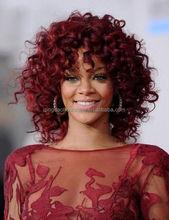 High quality dark red brazilian human hair kinky curly rihanna style short full lace wig