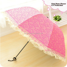 New arrival vinyl rose flower uv protection folding lace sun umbrella