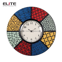 2015 art deco novelty church window theme MDF quartz stained glass wall prayer time clock