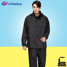 black thick 100% polyester waterproof suit with pants