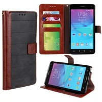 Retro Style Frosted Splice Pattern Wallet Flip Leather Case for Note 4
