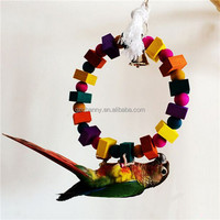 2015 Colorful Wood Pet Bird Parrot Swing Toy Parakeet Rope Cockatiel Canary Budgie Aviary nEW