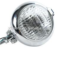 Chrome Bates Style Headlight Lamp For Suzuki Chopper Bobber