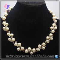 2015 new fashion KC gold plating White Pearl latest design pearl necklace for women Of Yiwu