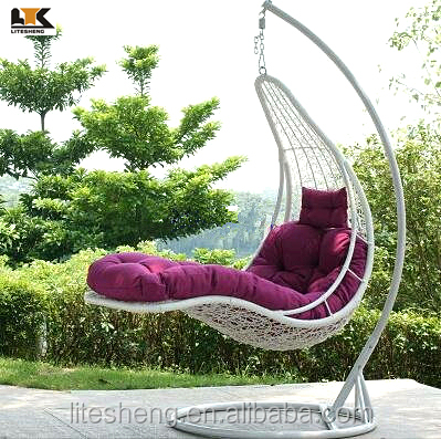 Indoor outdoor egg shaped swing hanging chair for adults for T shaped swing set