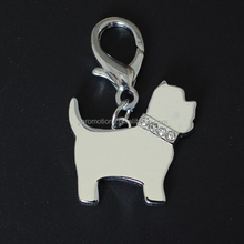 die casting zinc alloy pet tag with stones- shiny chrome plating