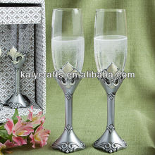 champagne flutes poly resin Fleur De Lis Collection toasting flutes