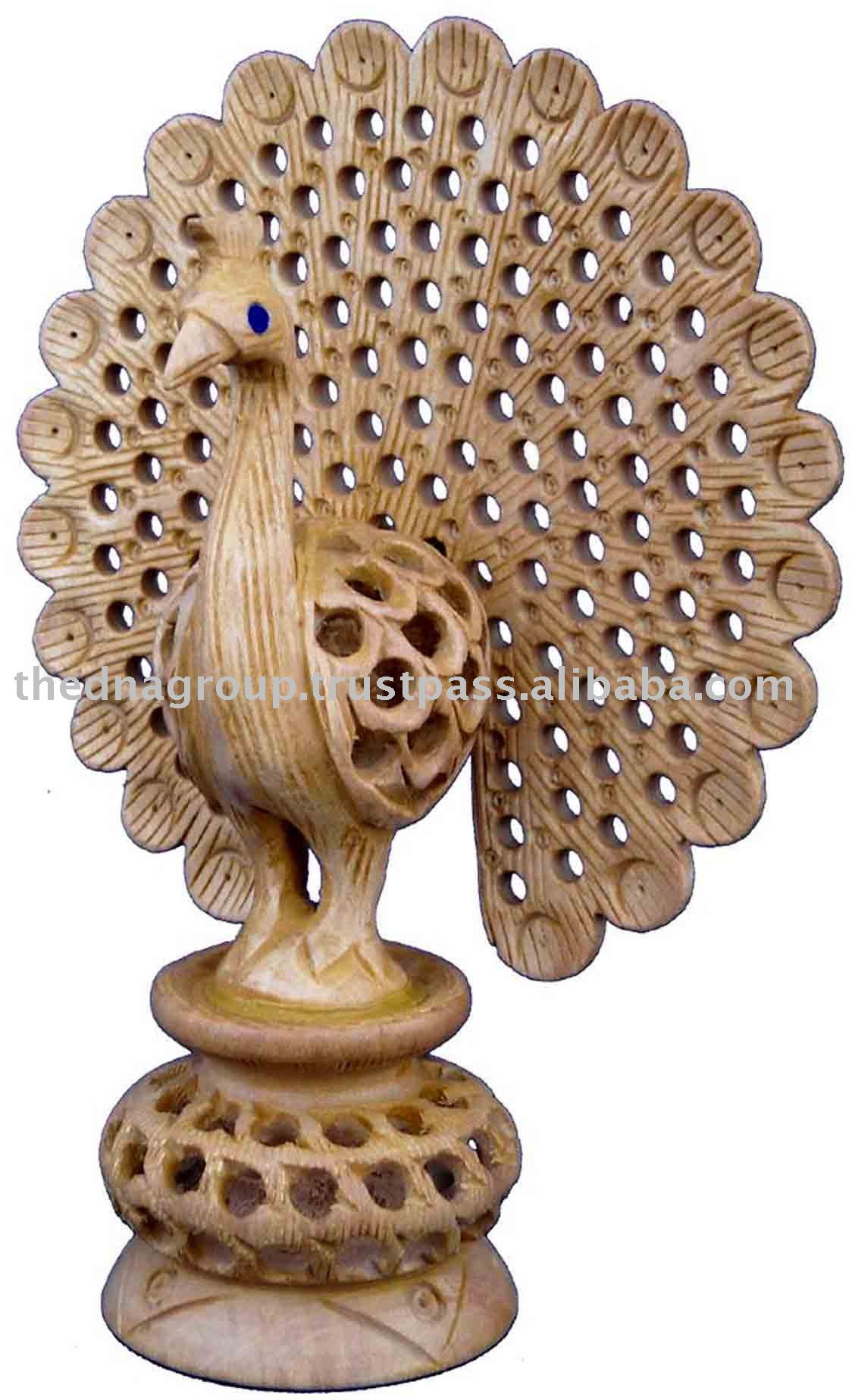 Wood carving peacock view patterns wooden
