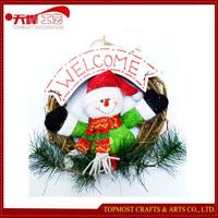 Christmas indoor Decoration Plush Snowman Christmas Wooden Wreath
