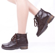 The spring and autumn clothing shoes Sheepskin shoes Ankle Boots Side zipper lace fashion boots