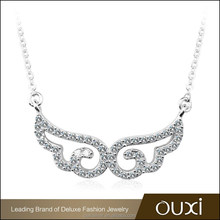 OUXI angel wings shaped S925 sterling silver cz jewelry necklace Y10014